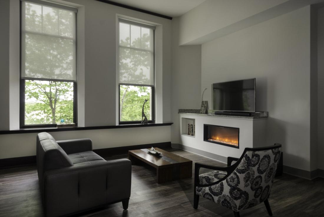 Norman School Lofts Living Room